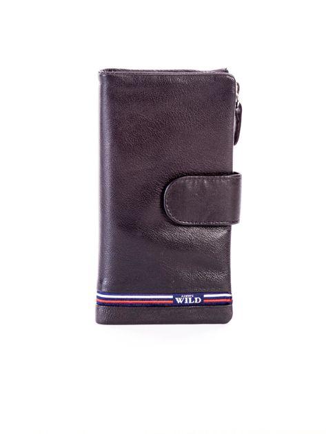 Czarny portfel skórzany z kieszenią na suwak