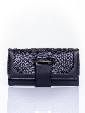 Czarny portfel z motywem skóry aligatora                                   zdj.                                  1