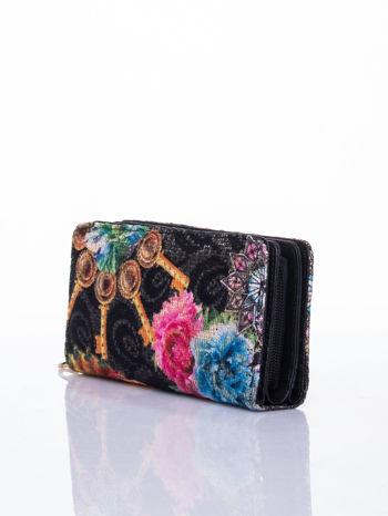 Czarny portfel z nadrukiem paisley                                  zdj.                                  3