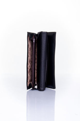 Czarny portfel z ozdobnym detalem i złotymi okuciami                                  zdj.                                  5
