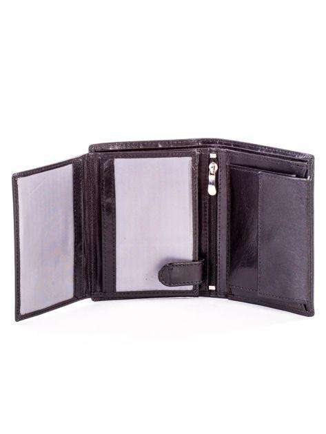 Czarny portfel ze skóry naturalnej z napisem                              zdj.                              5