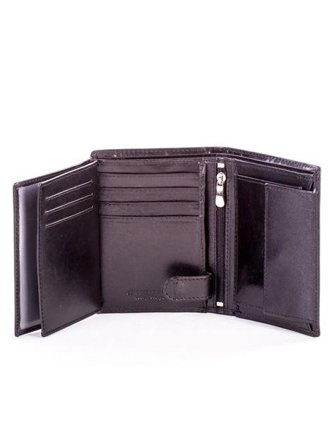 Czarny portfel ze skóry naturalnej z napisem                              zdj.                              6