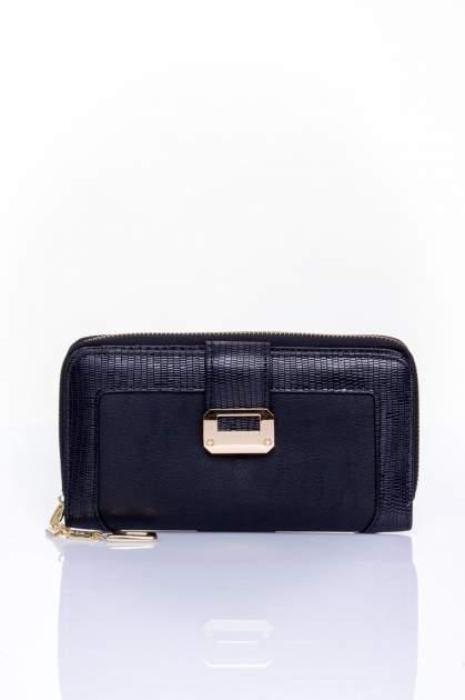 Czarny portfel ze złotą klamerką                                  zdj.                                  1