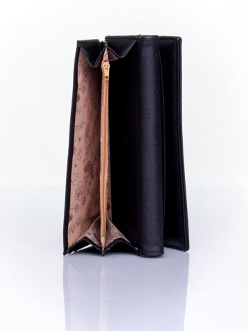 Czarny portfel ze złotym zapięciem                                   zdj.                                  5