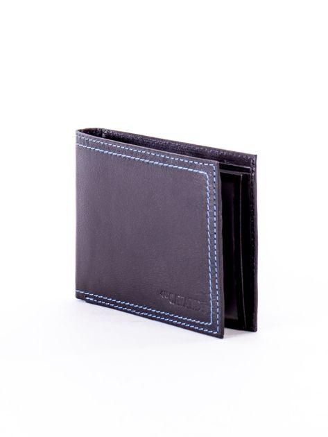 Czarny skórzany portfel męski z eleganckim niebieskim obszyciem                              zdj.                              3