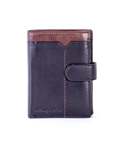 Czarny skórzany portfel z brązową wstawką                              zdj.                              1