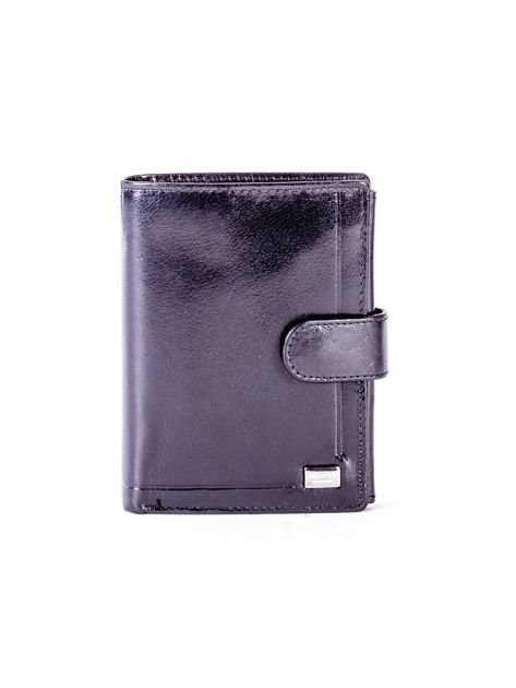 Czarny skórzany portfel z tłoczeniami                              zdj.                              1