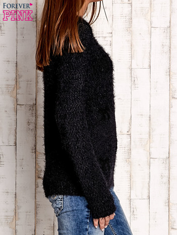 Czarny sweter long hair z kokardkami                                  zdj.                                  3
