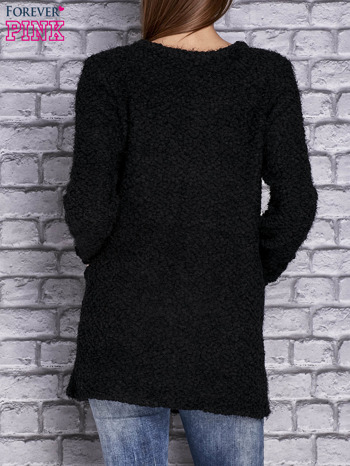 Czarny sweter long hair zapinany na suwak                                  zdj.                                  4