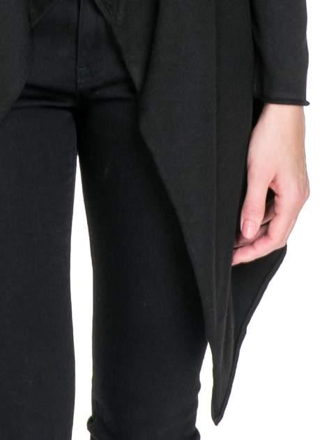 Czarny sweter narzutka waterfall ze skórzanymi klapami                                  zdj.                                  6
