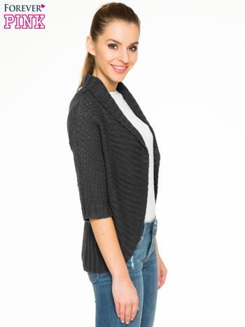 Czarny sweter narzutka z rękawem 3/4                                  zdj.                                  3