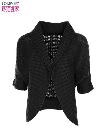 Czarny sweter narzutka z rękawem 3/4                                  zdj.                                  5
