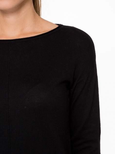 Czarny sweter z dłuższym tyłem i rozporkami po bokach                                  zdj.                                  6