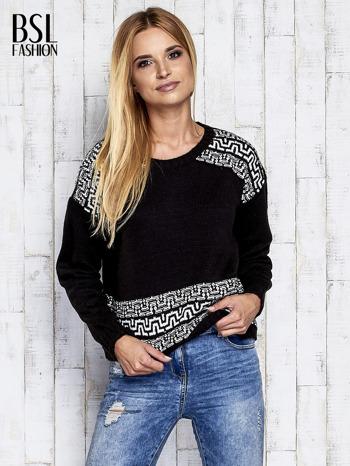 Czarny sweter z geometrycznymi splotami                                  zdj.                                  3