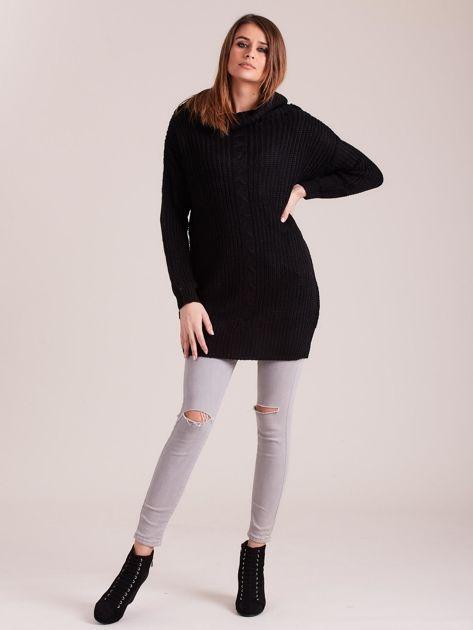 Czarny sweter z luźnym golfem                              zdj.                              4