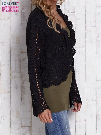 Czarny sweter z wiązaniem                                  zdj.                                  3