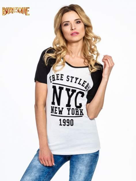 Czarny t-shirt NEW YORK 1990  w stylu collage                                  zdj.                                  1