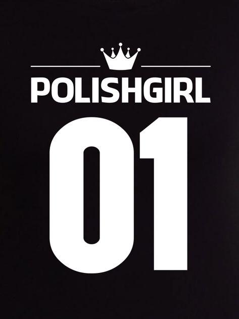 Czarny t-shirt POLISH GIRL z nadrukiem z tyłu                              zdj.                              2