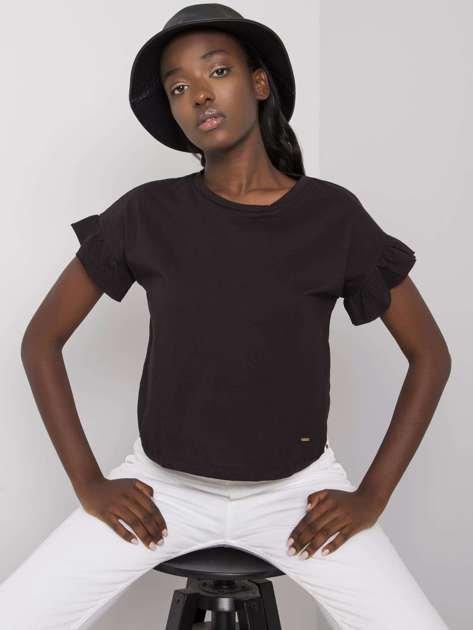 Czarny t-shirt bawełniany Amiyah NIE ZNASZ MNIE