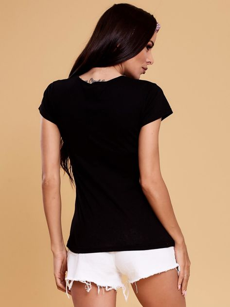 Czarny t-shirt damski OH BOY                              zdj.                              2