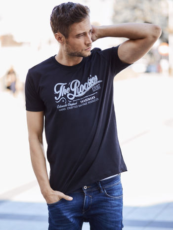 Czarny t-shirt męski z nadrukiem napisu THE ROCKIES
