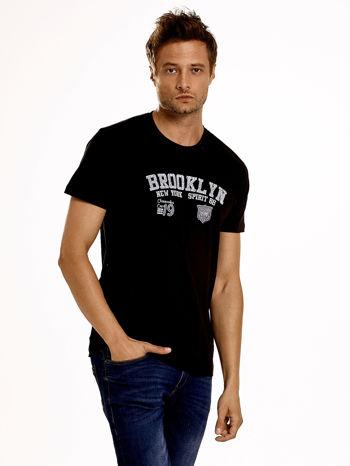 Czarny t-shirt męski z napisami BROOKLYN NEW YORK SPIRIT 86