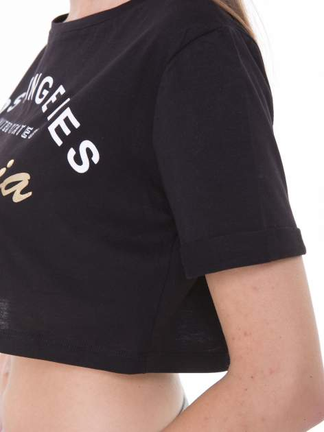 Czarny t-shirt typu crop top z nadrukiem UNITED STATES                                  zdj.                                  7