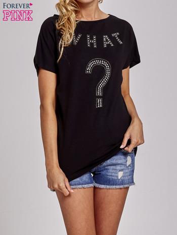 Czarny t-shirt z aplikacją z dżetów WHAT?                                  zdj.                                  1