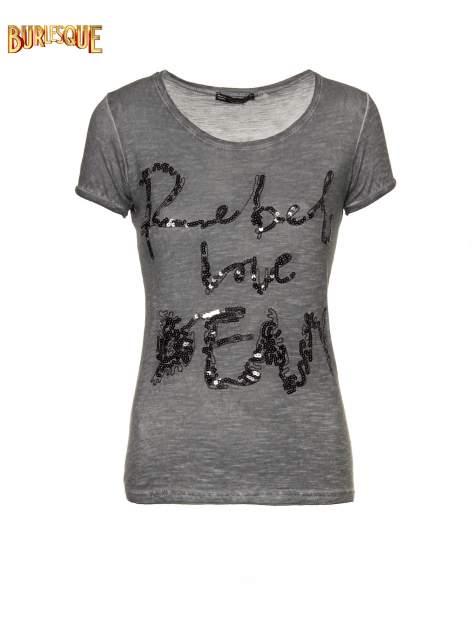 Czarny t-shirt z cekinowym napisem REBEL LOVE