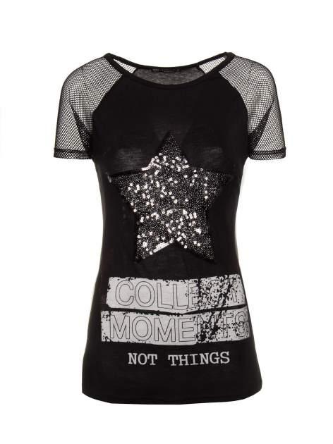 Czarny t-shirt z gwiazdą z cekinów                                  zdj.                                  1