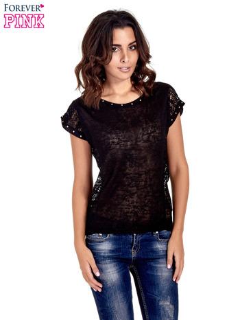 Czarny t-shirt z koronkowym tyłem i dżetami                                  zdj.                                  1