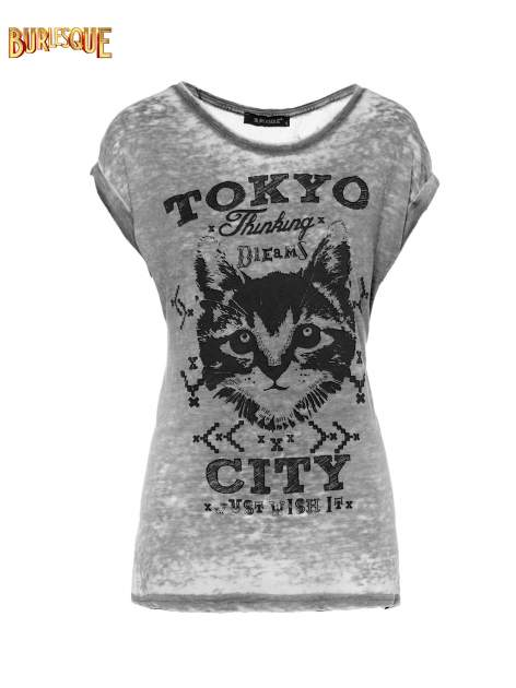Czarny t-shirt z kotem i napisem TOKYO CITY                                  zdj.                                  1