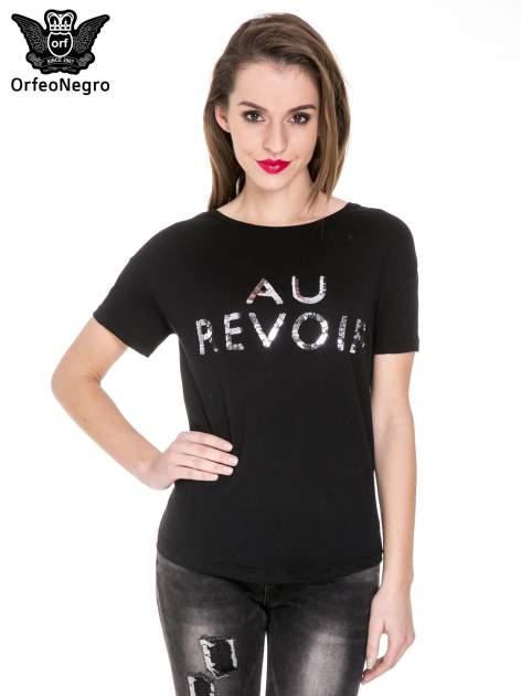 Czarny t-shirt z nadrukiem AU REVOIR z cekinów