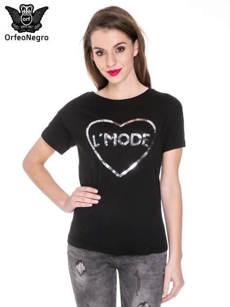 Czarny t-shirt z nadrukiem L'MODE z cekinów