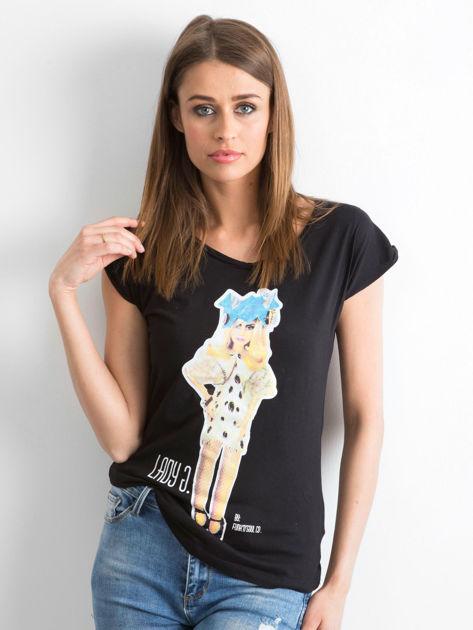 FUNK'N'SOUL Czarny t-shirt z nadrukiem                              zdj.                              1