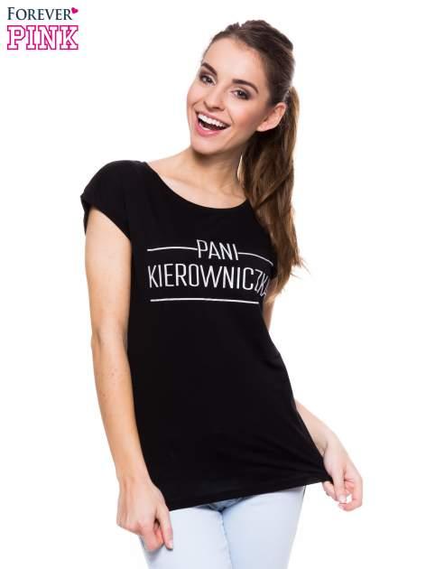 Czarny t-shirt z nadrukiem PANI KIEROWNICZKA