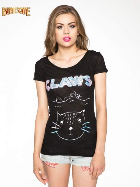 Czarny t-shirt z nadrukiem kota i myszy                                  zdj.                                  11