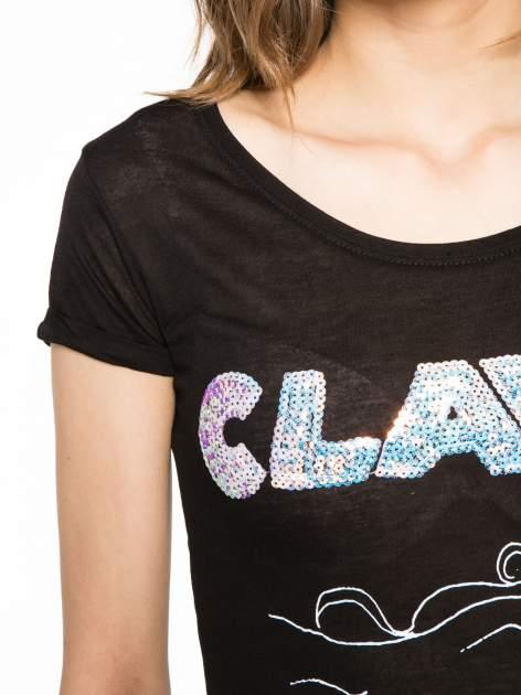 Czarny t-shirt z nadrukiem kota i myszy                                  zdj.                                  5