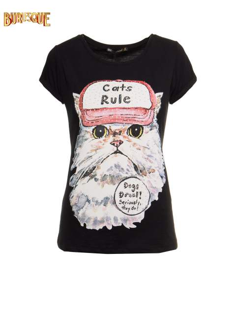 Czarny t-shirt z nadrukiem kota i napisem CATS RULE                                  zdj.                                  8