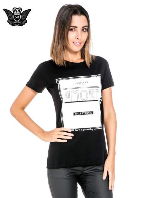 Czarny t-shirt z napisem AMORE                                  zdj.                                  1