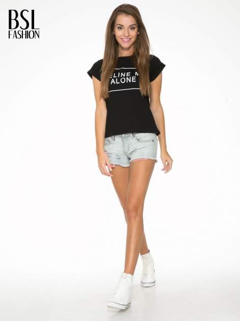 Czarny t-shirt z napisem CÉLINE ME ALONE                                  zdj.                                  5
