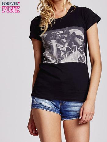 Czarny t-shirt z napisem GANG