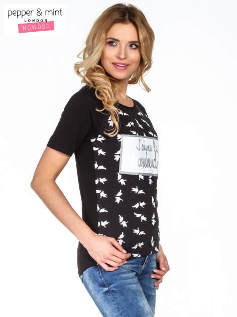 Czarny t-shirt z napisem J'AIME LE WEEKEND                                  zdj.                                  3