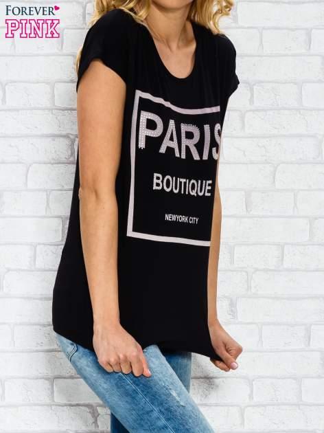 Czarny t-shirt z napisem PARIS BOUTIQUE z dżetami                                  zdj.                                  3