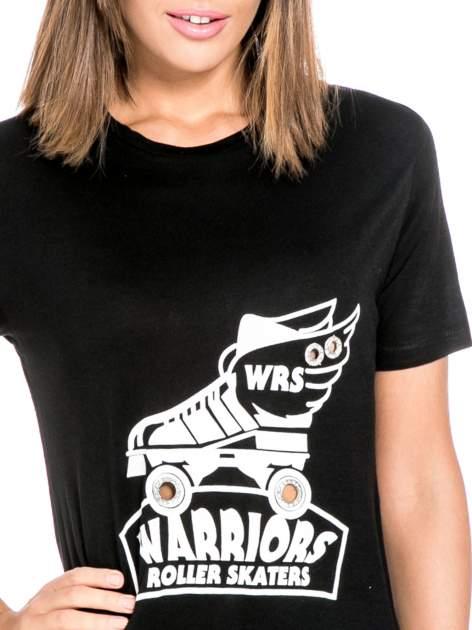 Czarny t-shirt z napisem WARRIORS ROLLER SKATERS                                  zdj.                                  5