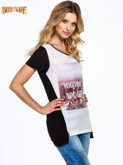 Czarny t-shirt z napisem YOU THINK BIG YOU GET BIG                                  zdj.                                  3