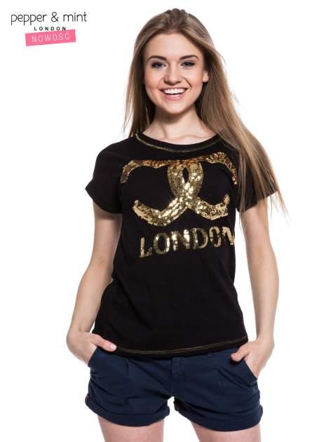 Czarny t-shirt z sercami z cekinów i nadrukiem LONDON