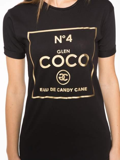 Czarny t-shirt ze złotym nadrukiem NO. 4 COCO                                  zdj.                                  8