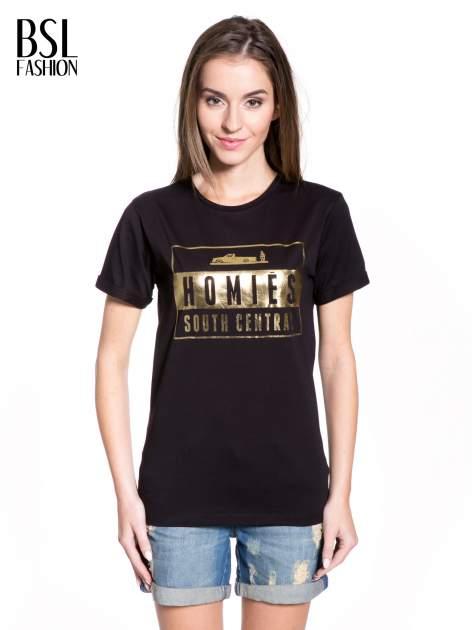 Czarny t-shirt ze złotym napisem HOMIES SOUTH CENTRAL                                  zdj.                                  1