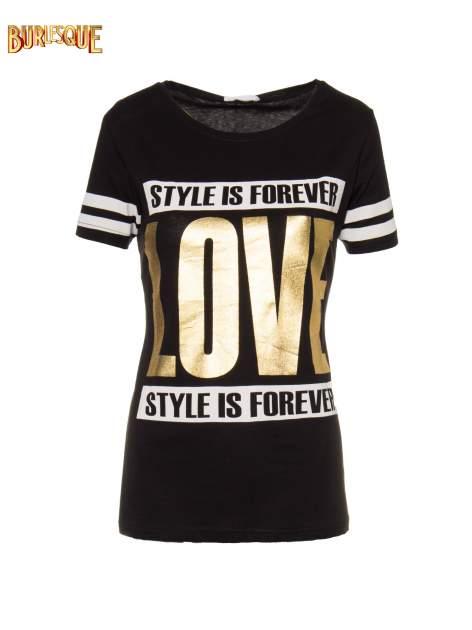 Czarny t-shirt ze złotym napisem LOVE                                  zdj.                                  1